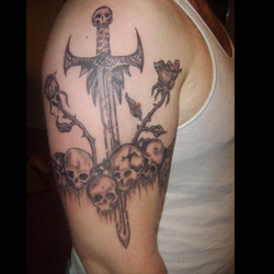 Sword tattoo meanings for Crossed swords tattoo