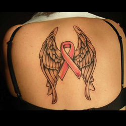 T Cancer Ribbon With Angel Wings Tattoo