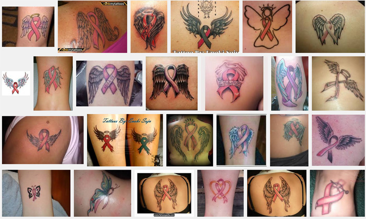 d938bd74336b7 Breast Cancer Ribbon with Angel Wings Tattoo