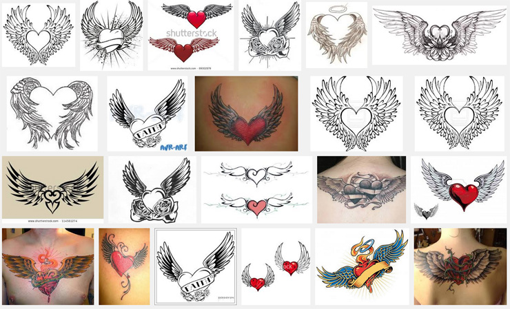 wings tattoo meanings itattoodesigns com rh itattoodesigns com heart and angel wings tattoo heart and wings tattoo designs