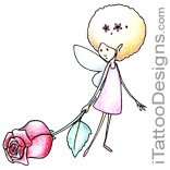 small fairy holding a rose