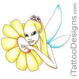 yellow fairy flower with blue wings