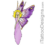 blond fairy with purple wings and pink dress