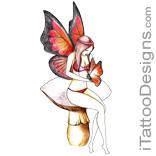 fairy sitting on big mushroom