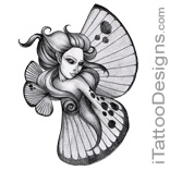black and white butterfly fairy