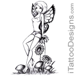 fairy with flowers and mushrooms
