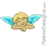 sleeping baby angel tattoo