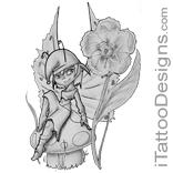 fairy with mushroom and flower