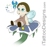 small fairy sitting on a flower
