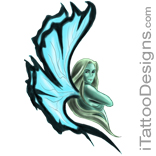 fairy with long blue wings