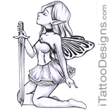 sitting fairy holding sword