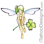 hot fairy holding a green flower