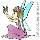 sitting fairy holding small bird