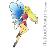 cute blond fairy with blue wings