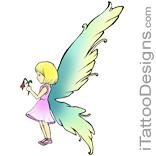 cute fairy holding flower