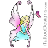 sitting fairy with red butterfly tattoo