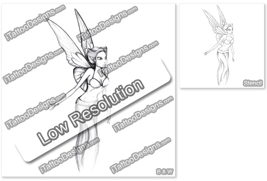 black and white fairy tattoo