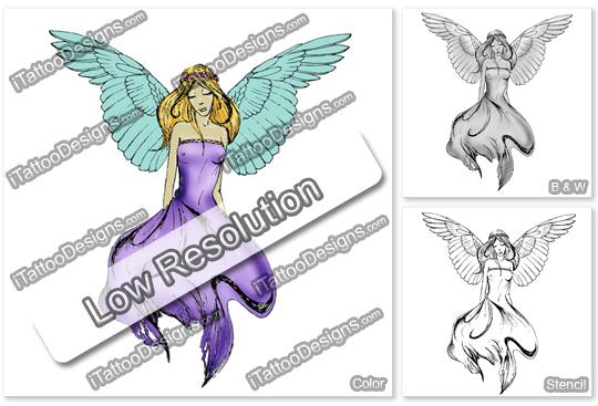 green wings angel tattoo