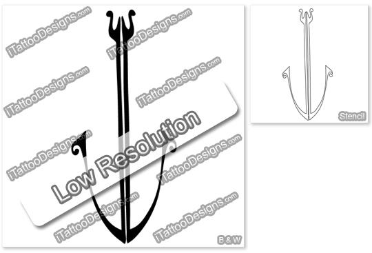 black tribal anchor