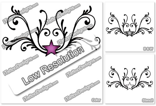 pink star tattoo design